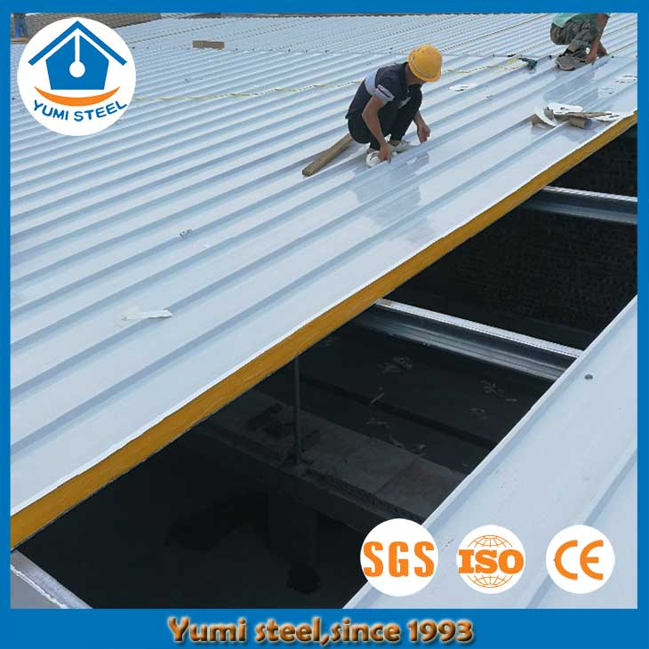75mm Steel-faced PU Roof Sandwich Panels for Steel Buildings